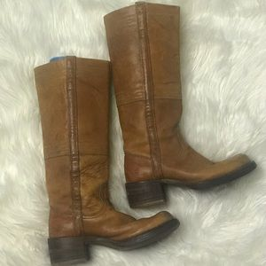 frye tall leather womens square heel vintage boots